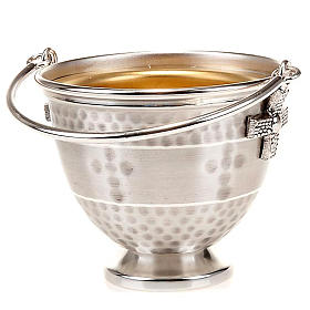 Holy water pot with embossed cross decoration s1