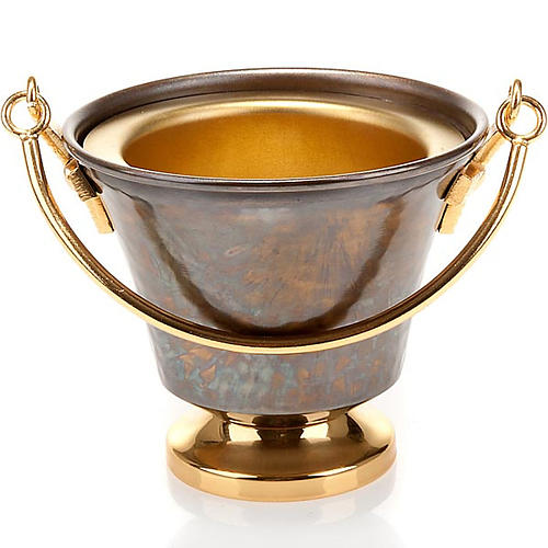 Secchiello per acqua santa bronzo sbalzato 4