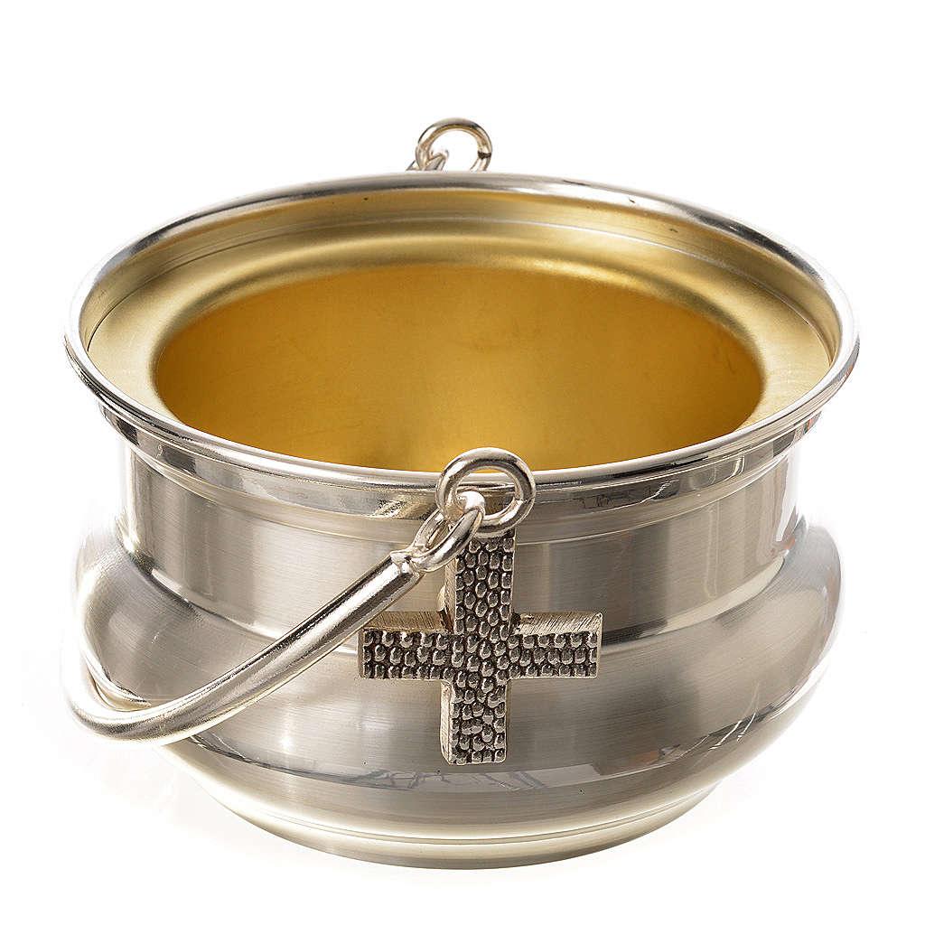 Seau à eau bénite, laiton argenté 3