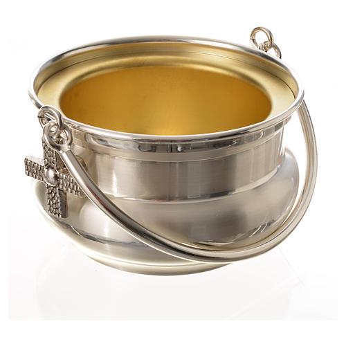 Seau à eau bénite, laiton argenté 5