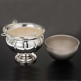 Holy water pot and sprinkler, silver plated brass s2
