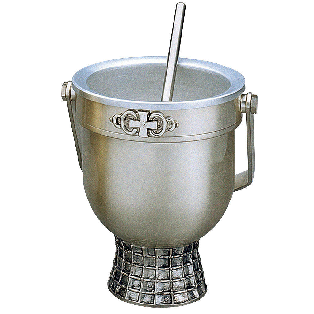 Set, Holy Water pot and sprinkler, Molina in silver brass 3
