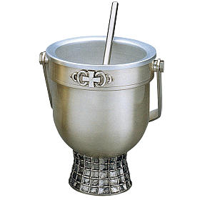 Set, Holy Water pot and sprinkler, Molina in silver brass s1