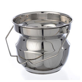 Holy water vessel for blessings in steel s1