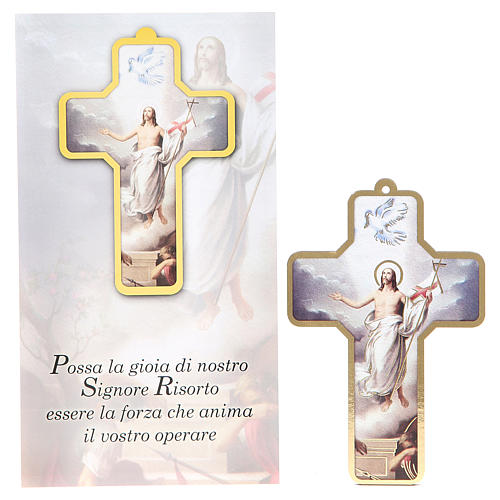 Cross pvc Resurrection with greeting card ITALIAN 1