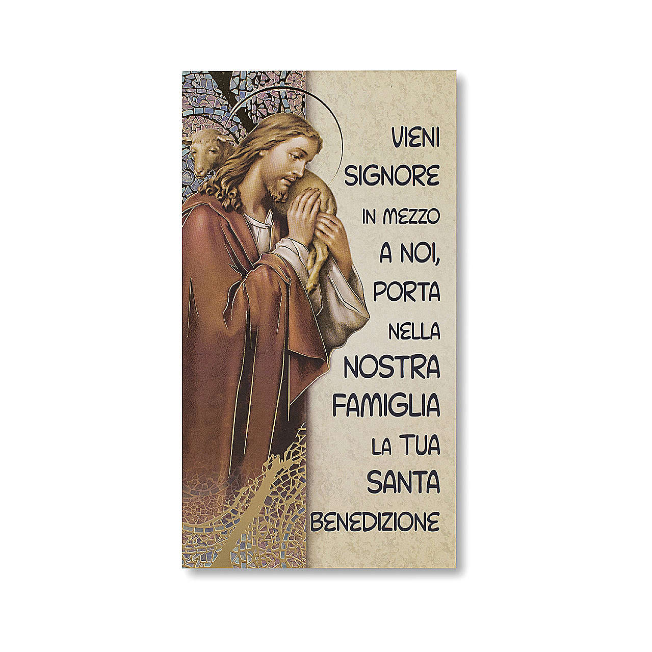 Family Blessing pasteboard Jesus the Good Shepherd ITALIAN 3