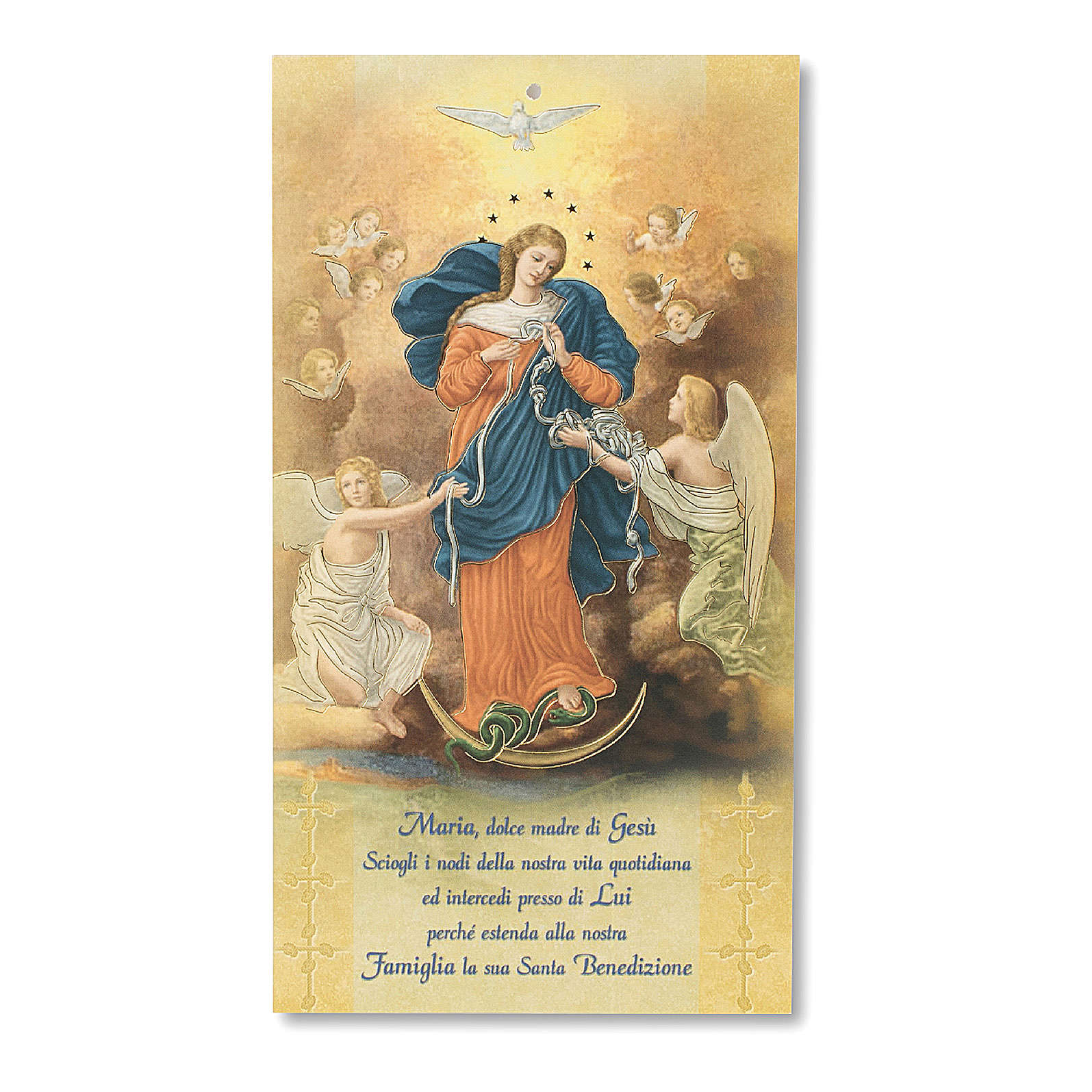 Easter blessing pasteboard Mary Untire of Knots ITALIAN 3