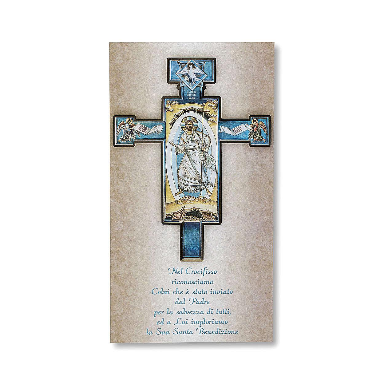 Benedizione delle case Cartoncino Croce Icona Gesù Risorto ITA 3