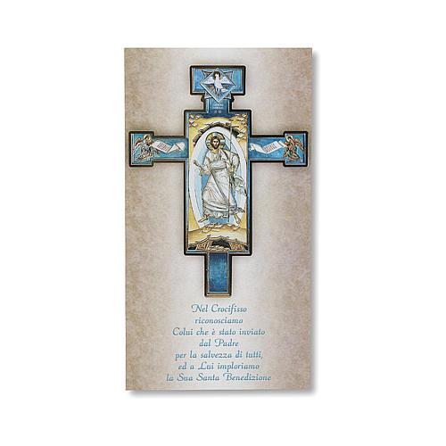 Benedizione delle case Cartoncino Croce Icona Gesù Risorto ITA 1