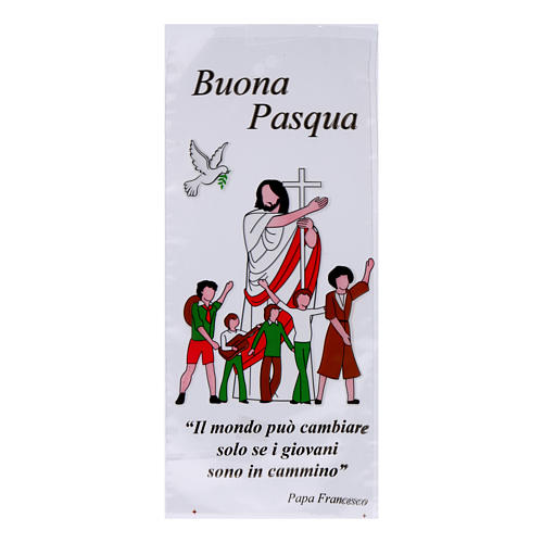 Palm Sunday bag for olive tree branches with image of Jesus Christ with young people 500 pieces 1