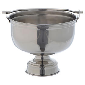 Bucket for blessings in smooth silver coloured brass s1