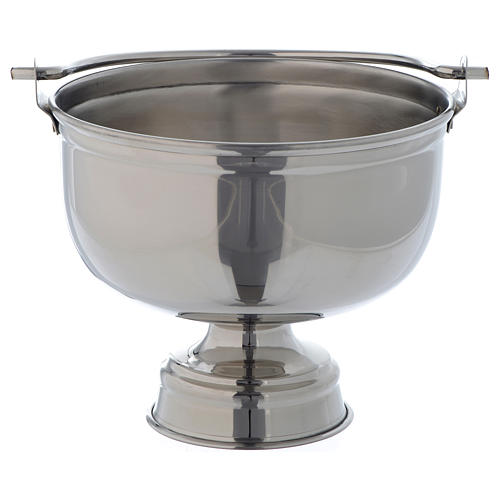 Bucket for blessings in smooth silver coloured brass 1