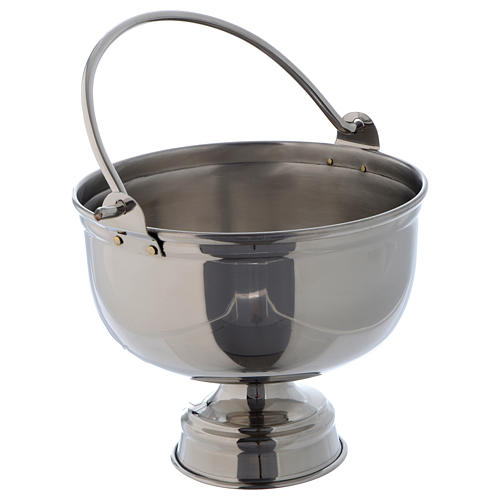 Bucket for blessings in smooth silver coloured brass 2