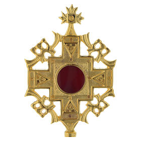 Reliquiario h 20 cm ottone dorato s2