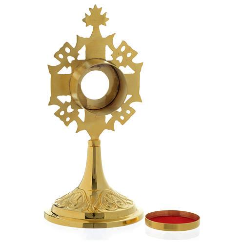 Reliquiario h 20 cm ottone dorato 4