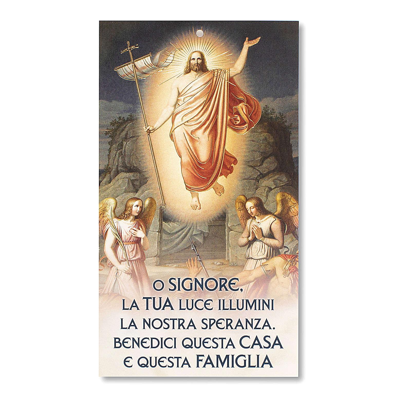 Błogosławieństwa Rodzin kartonik Jezus Zmartwychwstały z modlitwą 3
