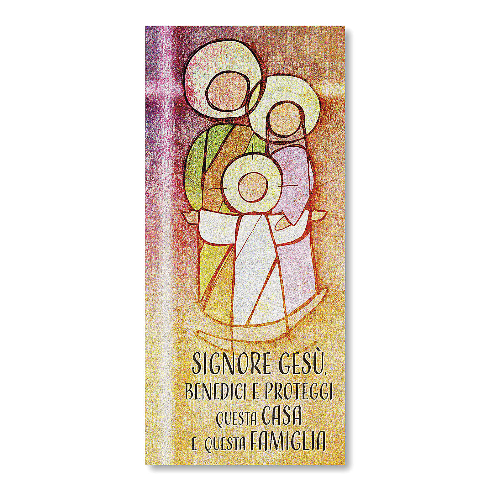 Card in parchment paper with Blessing of the Families and prayer Holy Family 3
