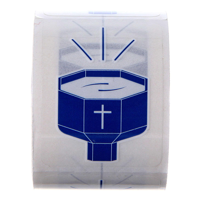 Autocollants Fonts Baptismaux 100 pcs pour bouteilles eau bénite 3