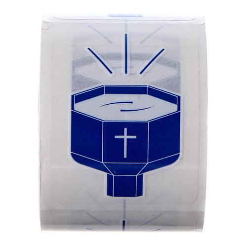 Autocollants Fonts Baptismaux 100 pcs pour bouteilles eau bénite 1