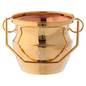 Secchiello per acqua santa ottone dorato s1