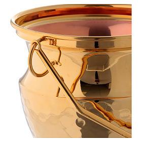 Secchiello per acqua santa ottone dorato s2