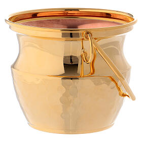 Aspersorium for holy water in golden brass s3