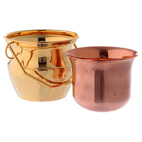 Aspersorium for holy water in golden brass s4