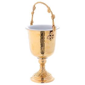 Secchiello per benedizione con aspersorio in ottone dorato martellato  s3