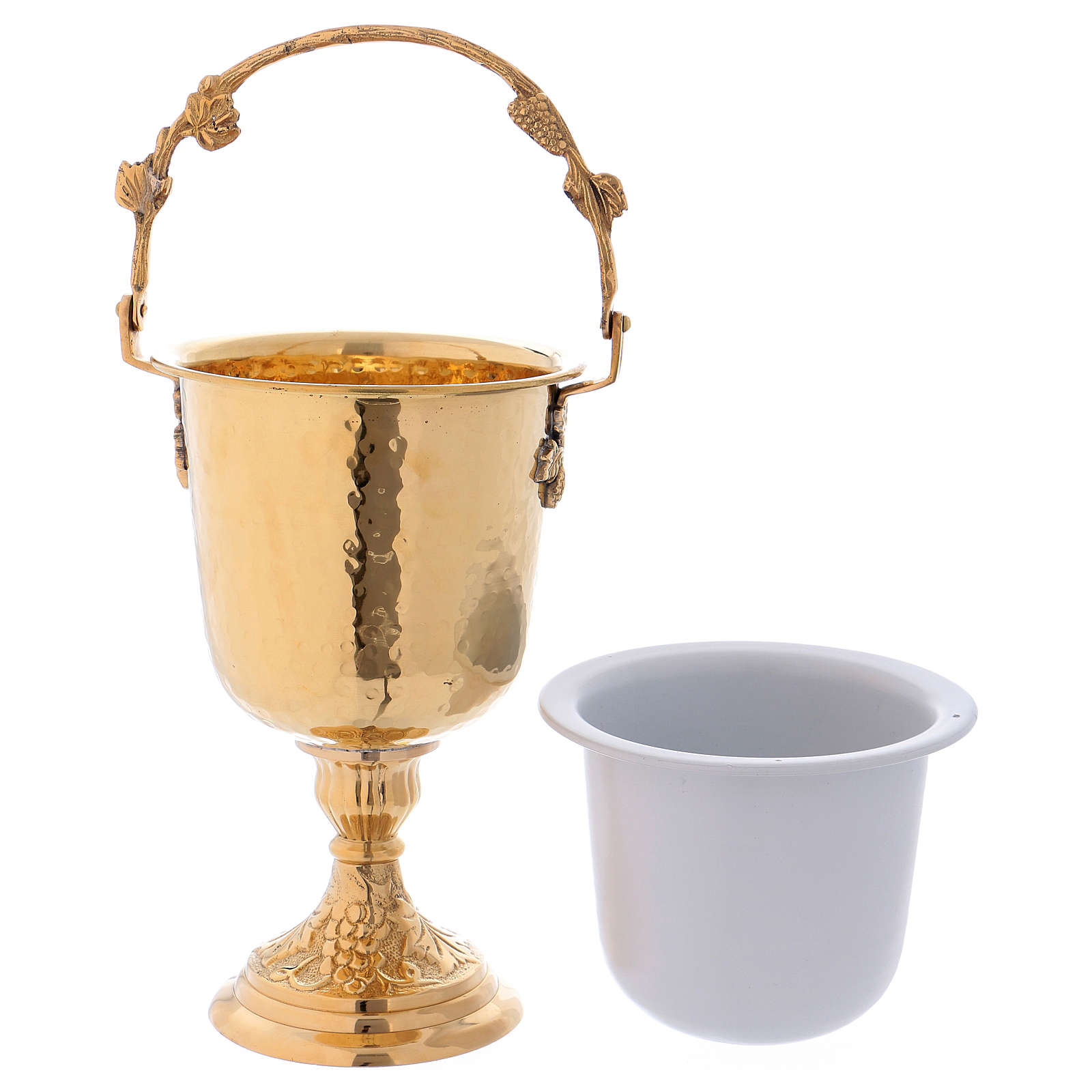Hammered Holy Water pot with sprinkler in gold plated brass 3