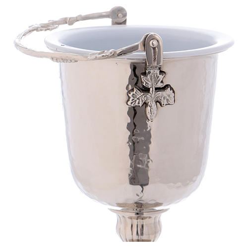 Hammered Holy Water pot with sprinkler in silver-plated brass 7