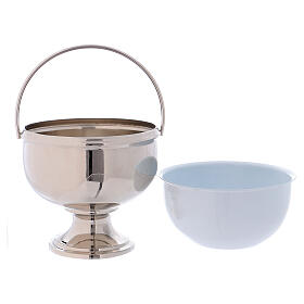 Bucket for blessing in polished nickel-plated brass s3