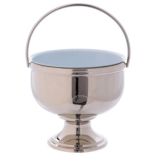 Bucket for blessing in polished nickel-plated brass 1
