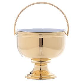 Sceau pour eau bénite en laiton doré intérieur blanc amovible s1