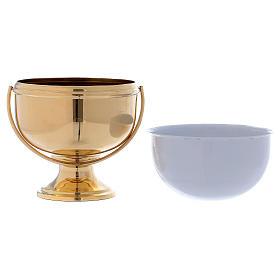 Secchiello per acqua santa in ottone dorato interno bianco estraibile s3