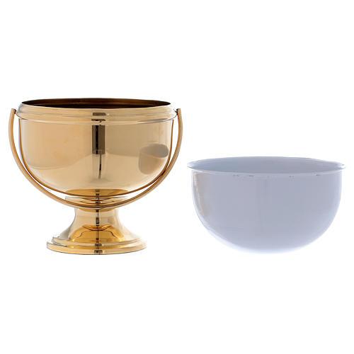 Secchiello per acqua santa in ottone dorato interno bianco estraibile 3