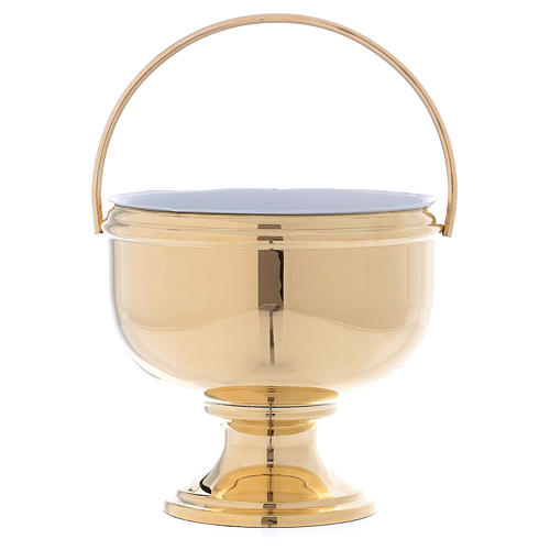 Gold plated brass Holy Water pot with white liner 1