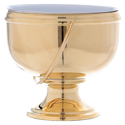 Gold plated brass Holy Water pot with white liner 2
