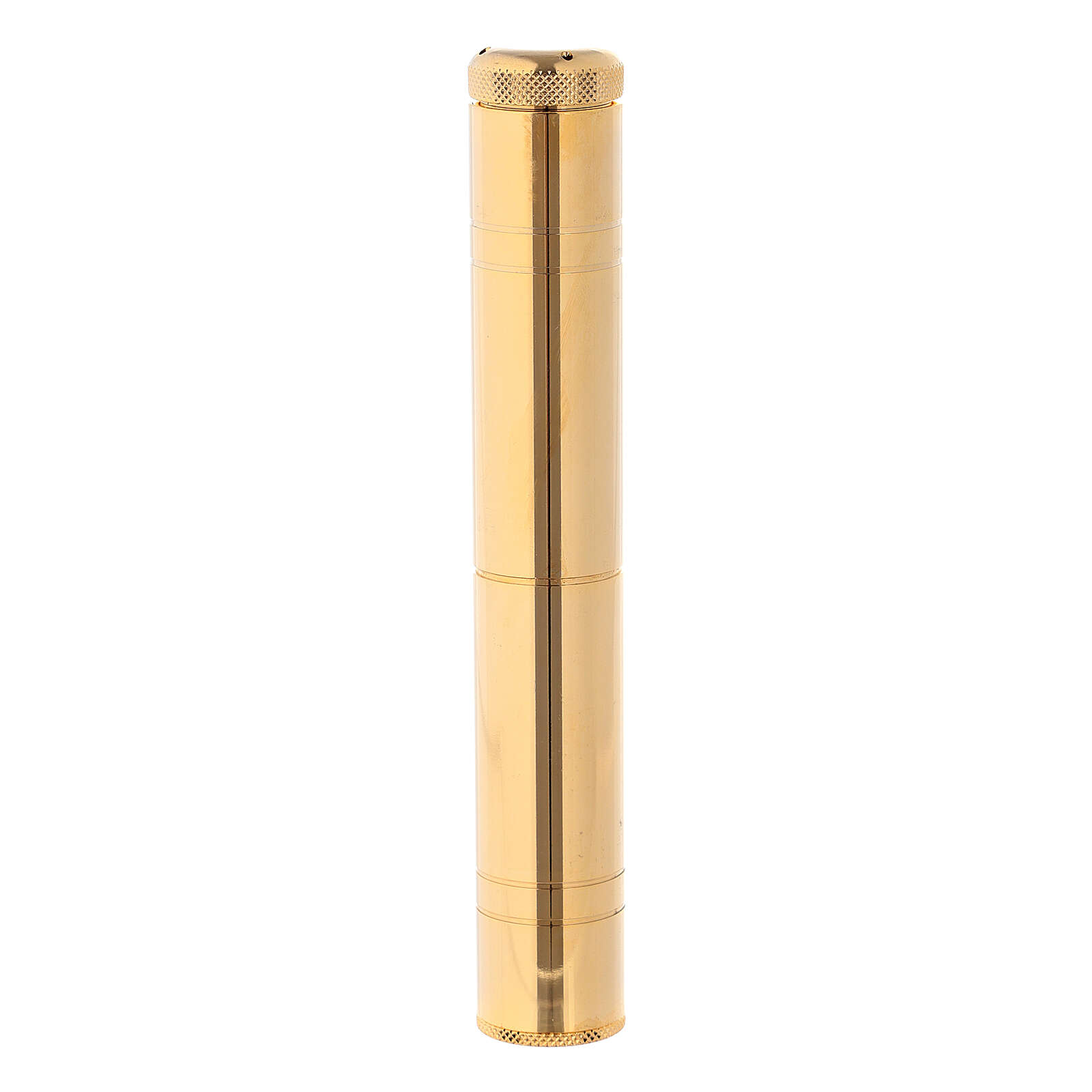 Aspergillum 16 cm in golden brass with case 3