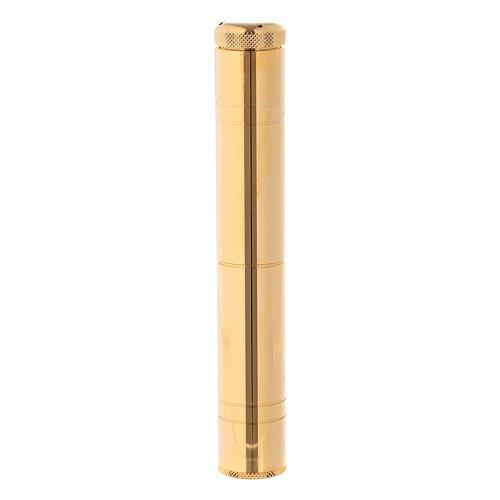 Aspergillum 16 cm in golden brass with case 1