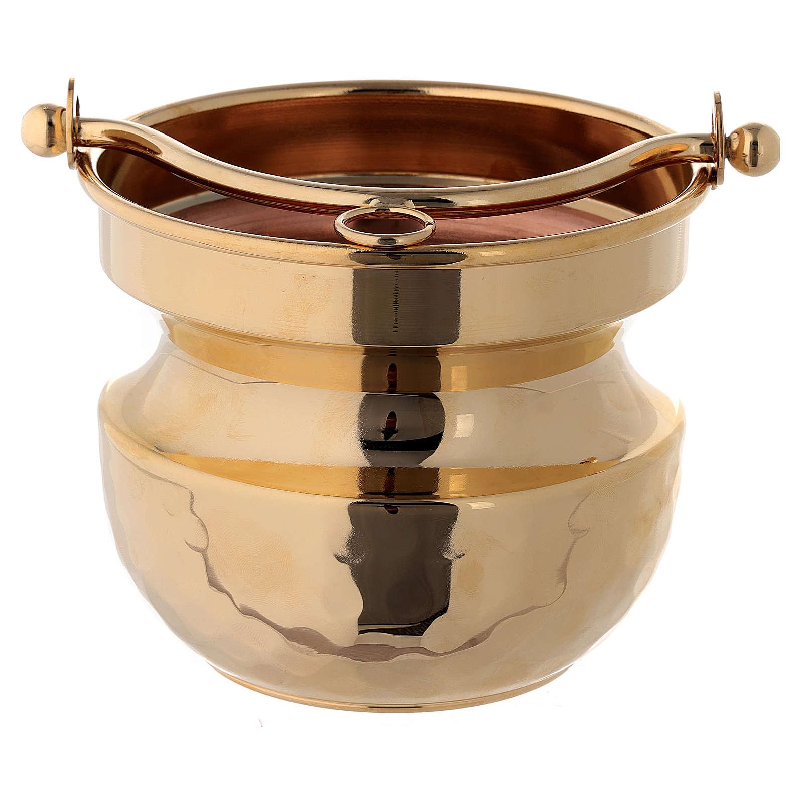 Secchiello martellato per acqua santa ottone dorato 24k 3