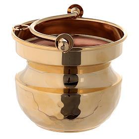 Secchiello martellato per acqua santa ottone dorato 24k s2