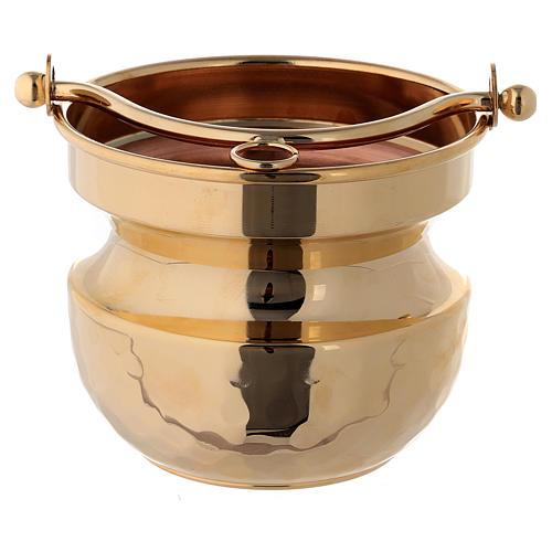Secchiello martellato per acqua santa ottone dorato 24k 1