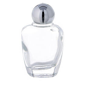 15 ml holy water glass bottle with silver metallic plastic cap (50-PIECE PACK) s1