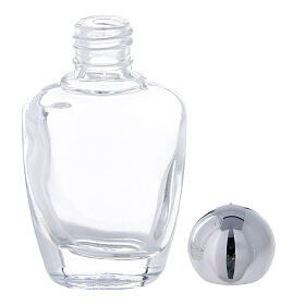 15 ml holy water glass bottle with silver metallic plastic cap (50-PIECE PACK) s3