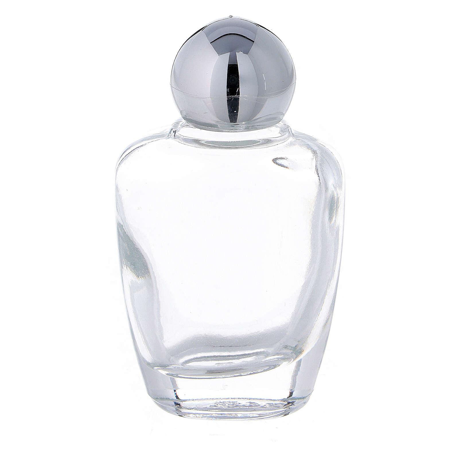 Botella agua bendita vidrio 15 ml tapón plateado (CAJA 50 PIEZAS) 3