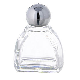 12 ml holy water glass bottle with silver plastic cap (50-PIECE PACK) s1