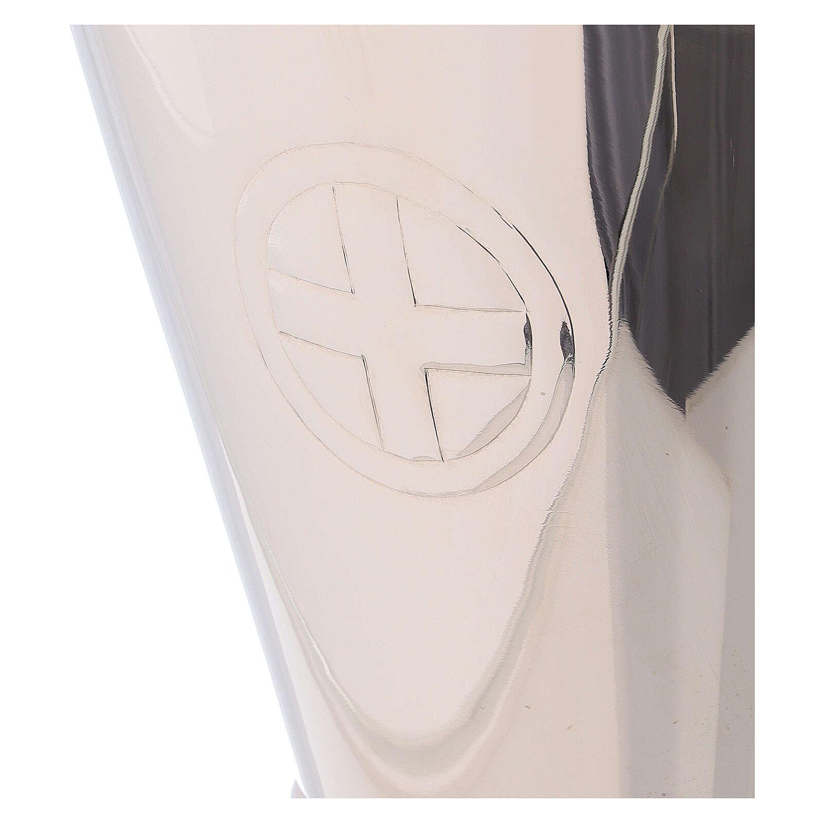 Wiaderko krzyż rzeźbiony rzemieślniczo mosiądz niklowany 3