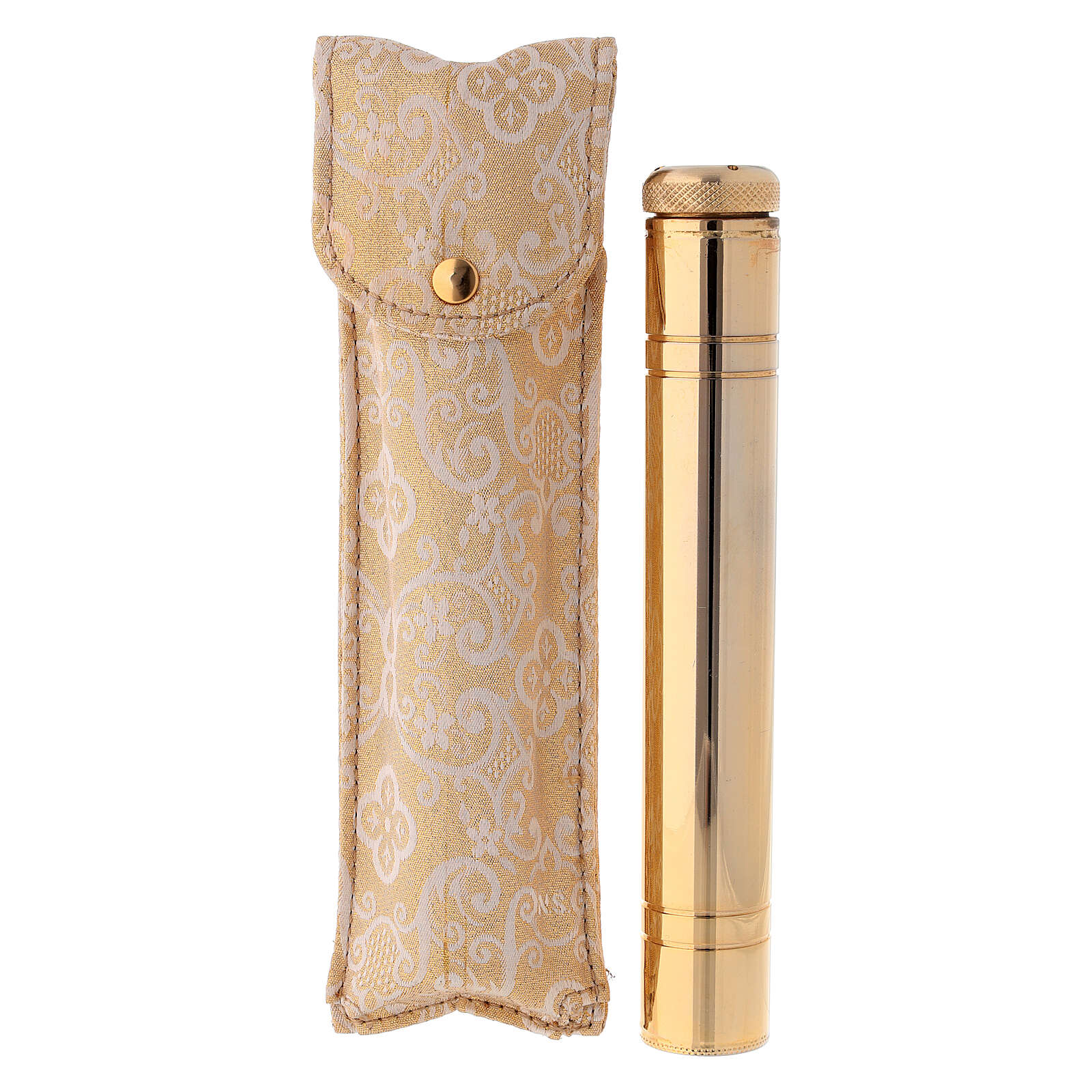 Holy water sprinkler 16 cm, in light gold with jacquard case 3