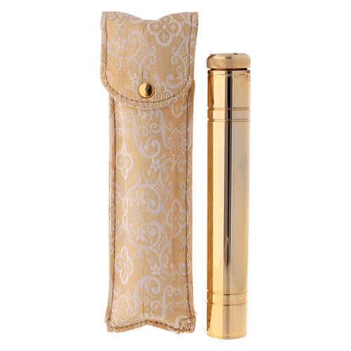 Holy water sprinkler 16 cm, in light gold with jacquard case 2