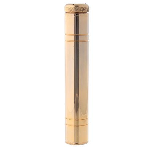 Aspersorio latón dorado 24k 14 cm estuche raso dorado 1